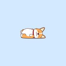 Lazy Dog Sleeping, Cute Welsh Corgi Puppy Lying On Back Cartoon Icon, Vector Illustration.