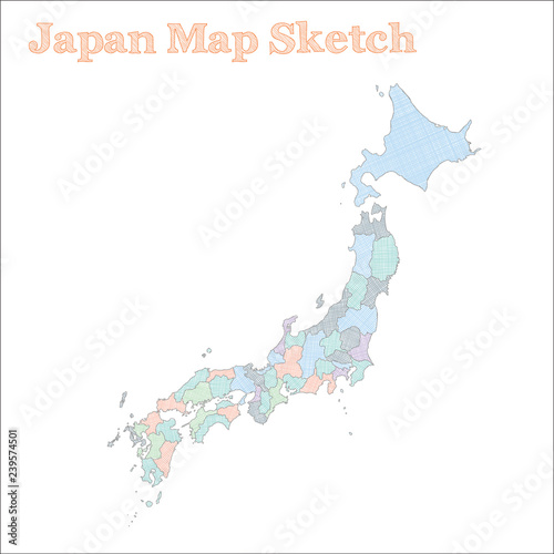 Japan Map Regions.Japan Map Hand Drawn Country Neat Sketchy Japan Map With Regions