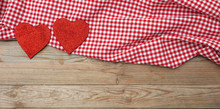 Valentines Day. Top View Of Red Fabric Hearts, Wooden Background.