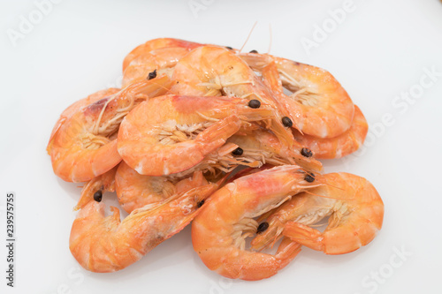 cooked prawns isolated in white background