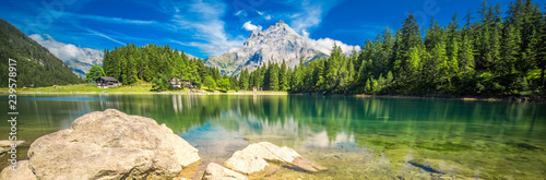 Keuken foto achterwand Alpen Arnisee with Swiss Alps. Arnisee is a reservoir in the Canton of Uri, Switzerland, Europe