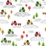 Seamless colorful pattern with doodle tractors.