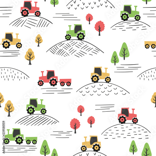 obraz PCV Seamless colorful pattern with doodle tractors.