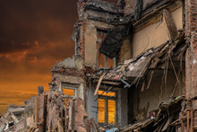 The Wreckage And The Skeleton Of An Old Building Destroyed To Make Room For Modern Development