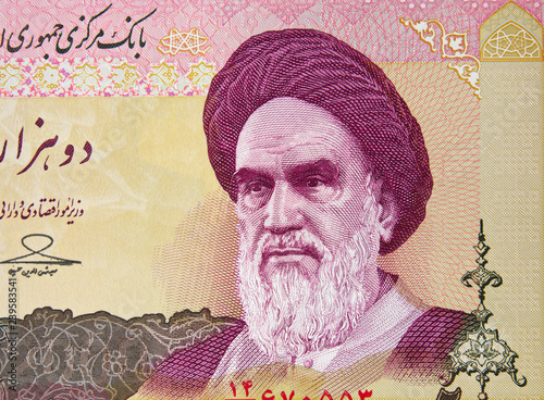 Fotografia  Ayatollah Ruhollah Khomeini on Iranian 2000 rial banknote close up, Iran currency