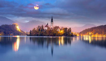 Night And Morning On Lake Bled