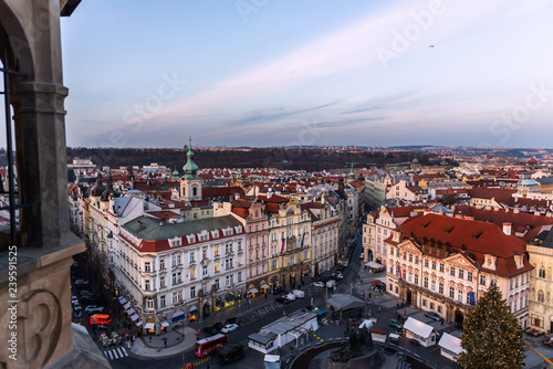 Recess Fitting Prague View on Prague panorama with red roofs and historic architecture