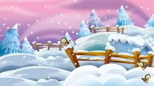 Cartoon Winter Nature Scene - Illustration For Children