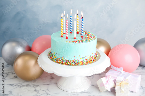Astounding Fresh Delicious Birthday Cake Ts And Balloons On Table Against Funny Birthday Cards Online Sheoxdamsfinfo