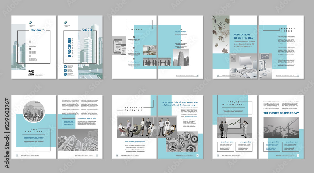 Fototapety, obrazy: Brochure creative design. Multipurpose template, include cover, back and inside pages. Trendy minimalist flat geometric design. Vertical a4 format.