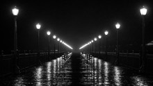 Black And White Pier At Night ...