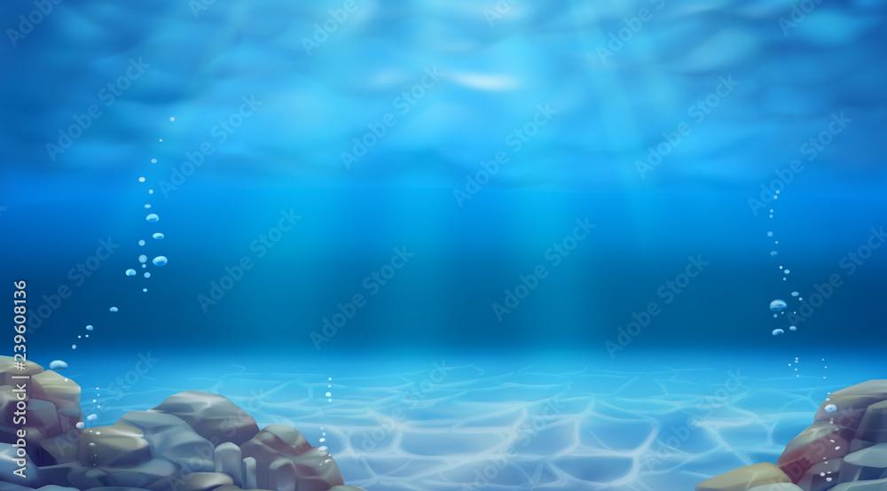 Fototapeta Underwater landscape. Realistic vector background