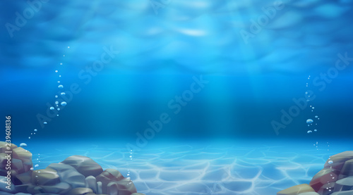 Obraz na plátne Underwater landscape. Realistic vector background