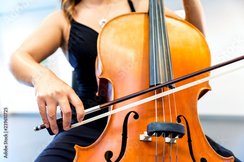 Close up of cello with bow in hands Fototapeta