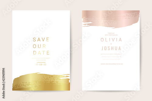 Fototapeta Wedding Invitation Cards With Luxury Gold Marble Texture Background And Geometric Pattern Vector Design Template