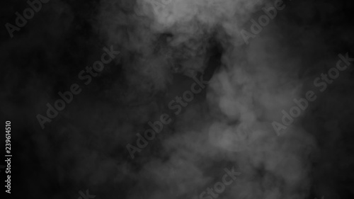 Poster Fumee Fog and mist effect on isolated black background for text or space