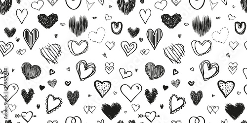 Fotografía  Hand drawn background with hearts