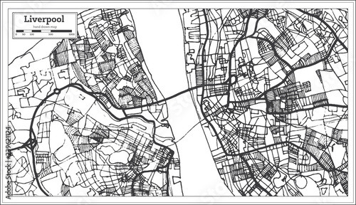 Liverpool England City Map in Retro Style. Outline Map ...