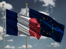 France Flag EU Flag Silk Waving Flags French Republic And European Union With A Flagpole On A Sunny Gray Blue Sky Background With White Clouds 3D Illustration