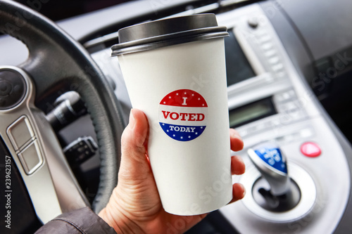 Obraz I voted today sticker on a Hot drink cup free giveway from a coffee shop - fototapety do salonu