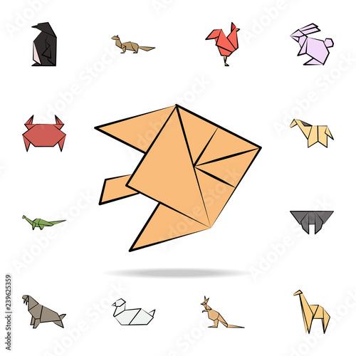 Fotografie, Obraz  fish moon colored origami icon