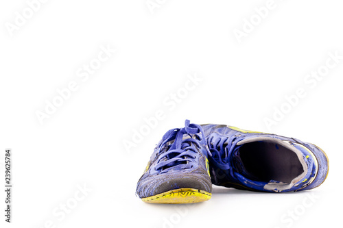 f3414dd1f31 old futsal shoes on white background football sportware object isolated