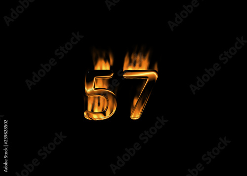 3D number 57 with flames black background Canvas-taulu