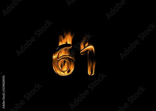 Fotografia  3D number 61 with flames black background
