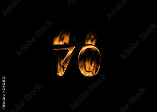 Fotografia  3D number 70 with flames black background