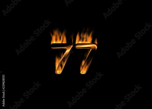 Fotografie, Obraz  3D number 77 with flames black background