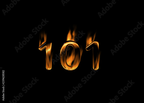 Photo  3D number 101 with flames black background