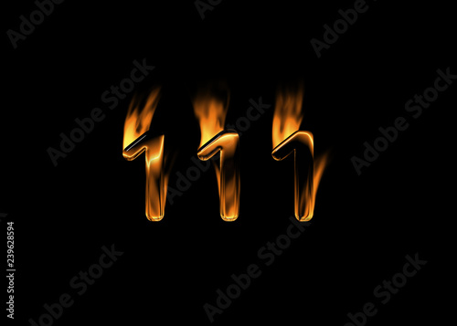 Fotografie, Obraz  3D number 111 with flames black background