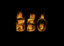 3D Number 350 With Flames Blac...