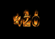 3D Number 420 With Flames Blac...