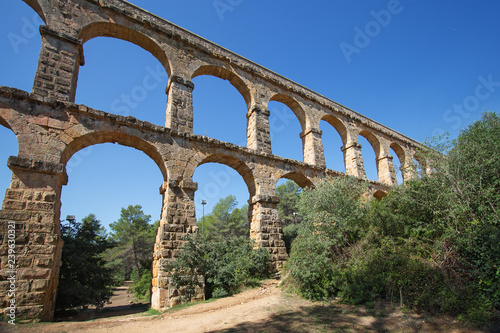 Roman aqueduct 'El ponte del Diablo' (The Bridge of the Devil) near Tarragona, C Canvas Print