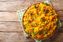 Indian Food Tawa Pulao Rice With Vegetables And Spices Close-up. Horizontal Top View
