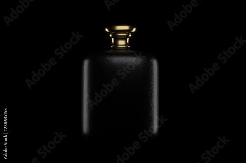 Fotografia  rectangular perfume bottle with gold cap. 3D illustration