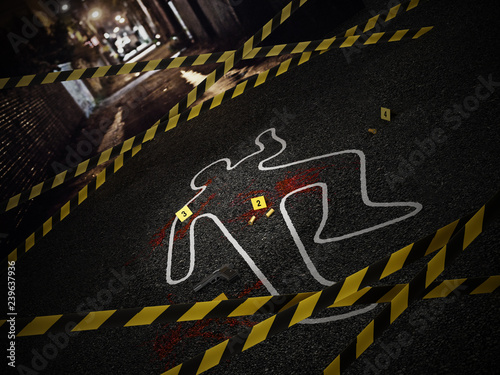 Crime scene of a murder case. 3D illustration Wallpaper Mural