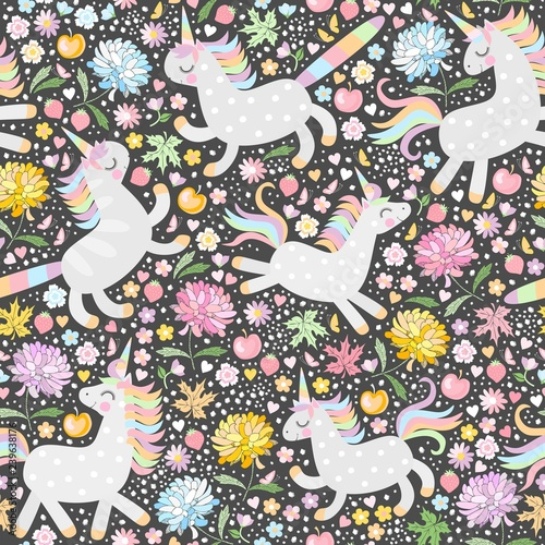 obraz PCV Cute seamless pattern with unicorns and summer flowers. Magic background for kids. Vector illustration.