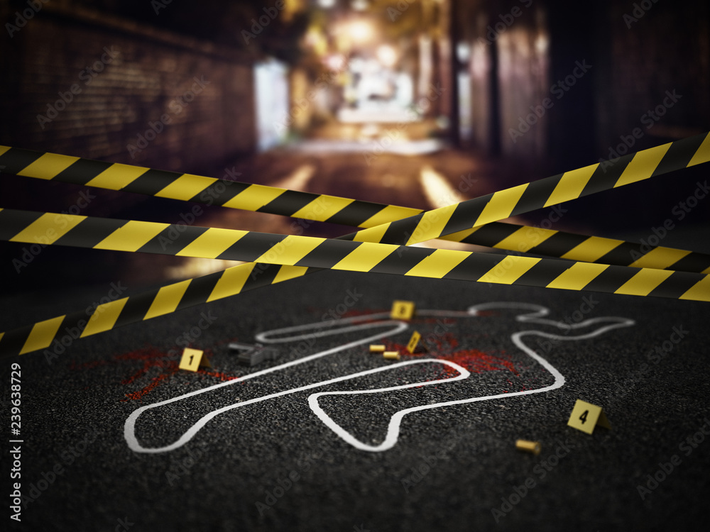 Fototapeta Crime scene of a murder case. 3D illustration