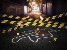 Crime Scene Of A Murder Case. 3D Illustration