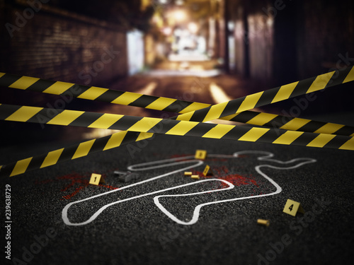 Leinwand Poster Crime scene of a murder case. 3D illustration