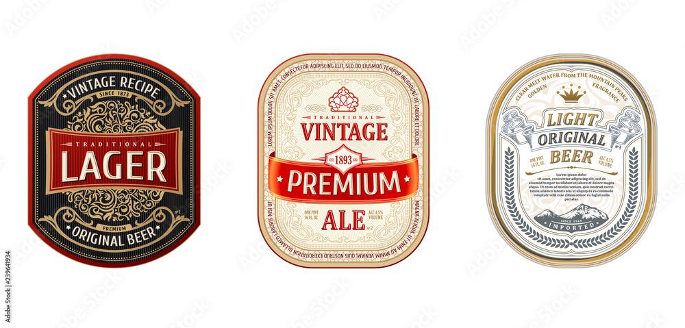 Fototapeta Set of Vintage frames for labels. Gold stickers bottle beer