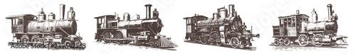 Fotografia Locomotive engine vintage railway set #vector – Lokomotiven Dampflokomotive Eise