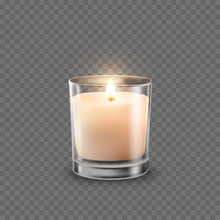 Candle In Glass Jar With Burning Flame Light Isolated On Transparent Background. Vector 3D Realistic Wax Candlelight Element Design.