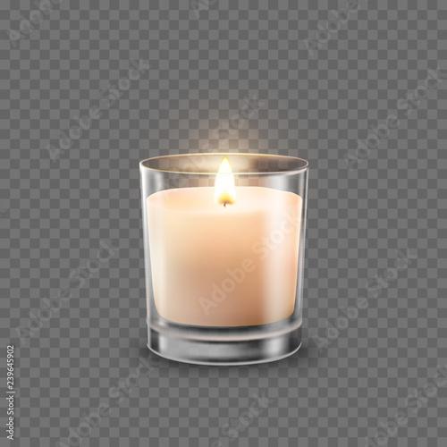 Obraz na plátně Candle in glass jar with burning flame light isolated on transparent background