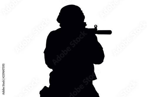 Vector image of a SWAT fighter. Wallpaper Mural