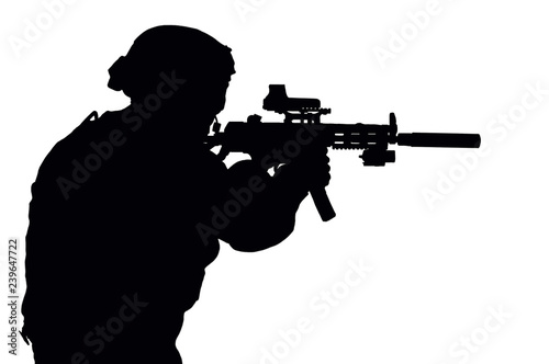Photo Vector image of a SWAT fighter.