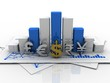 3d rendering Global Currencies with business graph