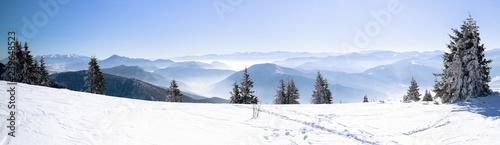 Fotografie, Obraz  Panorama of snowy winter mountain, Alpine mountains in winter, Beautiful winter